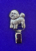 Dog Show Breed Ring Number Clip - Bichon Frise - FULL BODY Silver or Gold Style
